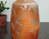 Bottle with Combed Decoration. Soda Fired Pottery
