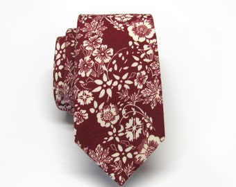 Cotton Mens Tie. Cotton Burgundy Dark Red Maroon Ivory Floral Vine Skinny Tie