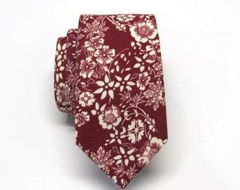 Cotton Mens Tie. Cotton Burgundy Dark Red Maroon Ivory Floral Vine Skinny Tie