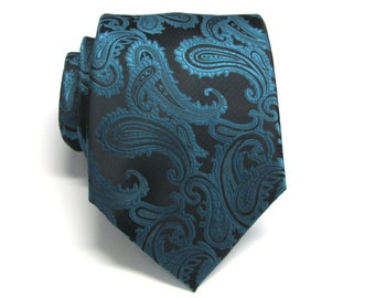 Teal Black Paisley Mens Ties. Wedding Ties Mens Neckties With Matching Pocket Square Option