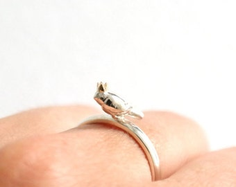 Baby Bird-king Ring, Handmade Bird Ring, Sterling Silver Ring, Gold Crown, Diamond Eyes, Made in Brighton uk