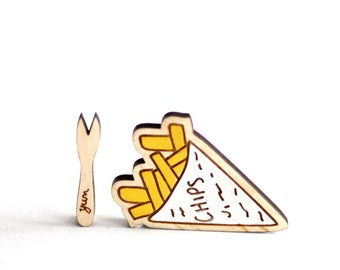 Chips and a Chip Fork, Wooden Brooches, Hand Painted, Laser Cut Food Jewellery, Made in Brighton, uk