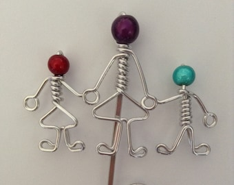 Teacher and Kids Bookmark with Red, Purple and Blue Miracle Beads