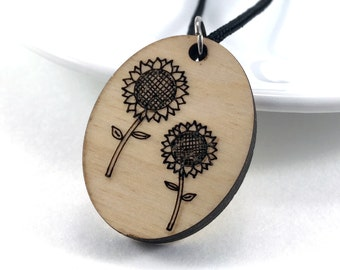 Wood Sunflower Necklace, Wood Essential Oil Jewelry, Sunflower Jewelry, Aromatherapy Necklace, Laser Cut Pendant, Gift for Her