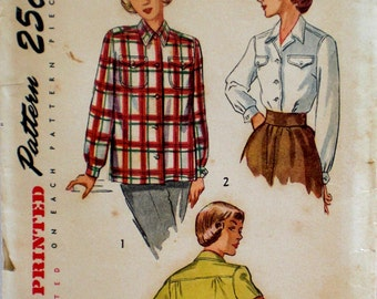 Vintage 1940s Camp Blouse Pattern Simplicity 2684 Bust 34 Rockabilly Camp Shirt