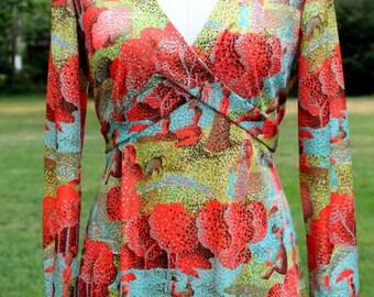 1970s Seurat Print Maxi Dress