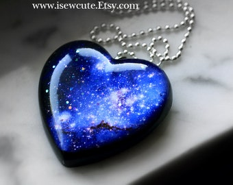 Galaxy Necklace Deep Space Blue Nebula Pendant Nebula Necklace Hubble Galaxy Nebula Necklace Space Universe Pendant Necklace for Stargazing