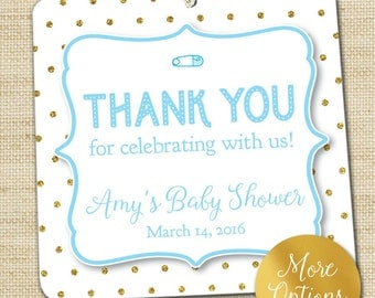Baby Shower Favor Tags, Glitter Polka Dots, Sprinkle Baby Shower Gift Tags, Custom Tags, Gender Neutral Party Favor Tags