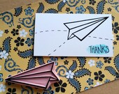 Paper Airplane - Hand Carved Rubber Stamp