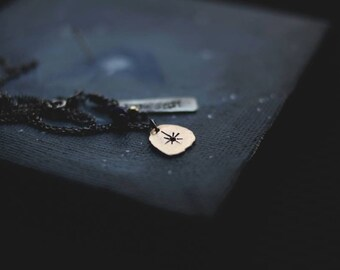 Love is like the North Star: 14k yellow gold and silver chain (includes mini painting - custom quote) - MADE to ORDER