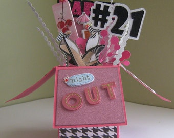 21st Birthday pop up card in a box - #21