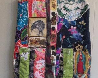 altered artist studio vest - Wearable Folk Art Kimono Couture- Vintage Patchwork-  Fabric Collage Clothing - myBonny random scraps
