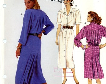 McCall's 3456 Buttoned Front Dress with Back Godets Size 12 Uncut Vintage Sewing Pattern 1987