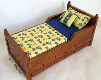 Replacement Mattress/Bedding for Dollhouse Child's Trundle Bed - 1/12th Scale