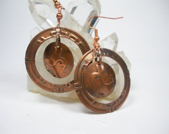 Double Copper Rings and Discs Handmade Embossed Earrings