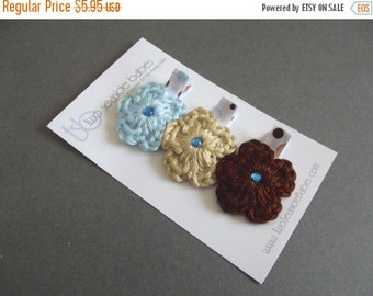 20% OFF Blue and Brown Hair Clips Light Blue Hair Clips Crochet Flower Hair Clips Polka Dot Hair Clips Baby Girl Hair Clips Baby Hair Clips