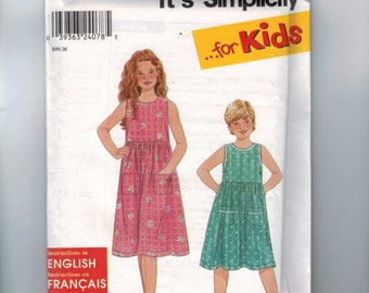 Girls Sewing Pattern Simplicity 9268 Girls Easy Dress Sundress Jumper Pockets Size 3 4 5 6 7 8 10 12 Breast 22 23 24 25 26 27 28 30 UNCUT