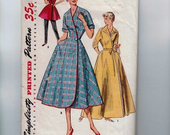 1950s Vintage Sewing Pattern Simplicity 4474 Misses Housecoat Robe Lounge Coat Size 12 Bust 30 50s 1950s