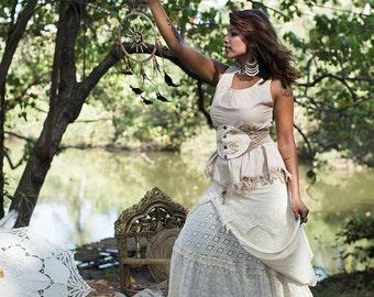 New! TULSI LINEN TOP - Boho Bohemian Hippie chic Couture Geometric Blouse Tunic Plus size Party Wedding Prom Elegant - Beige Khaki