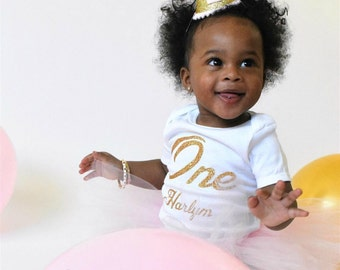 Personalized First Birthday Outfit Girl, First Birthday Outfit Girl, 1st Birthday Outfit Girl, Cake Smash Outfit Girl, SEWN Tutu Skirt, Pink
