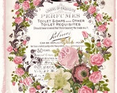 French Lovers Perfume LARGE format digital image download Paris pink roses Buy 3 Get one Free