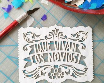 Mexican wedding invitation inserts - papel picado embellishments - Ready Made - Que Vivan los Novios!
