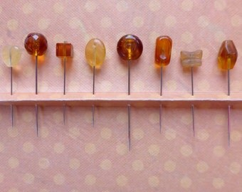 Assortment of Gold or Amber Straight Pins - Set of 8 Assorted Mixed Sizes and Styles
