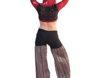 Circus Striped Ringleader Pants - Wide Leg, Flares, Cotton Hiphuggers, Dance Pants, Festival, Performance
