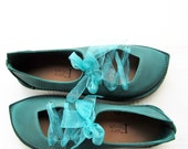 Womens shoes, PUCK, Handmade Leather Woodland Fairy Shoes in Teal, green, blue greens, pick a colour