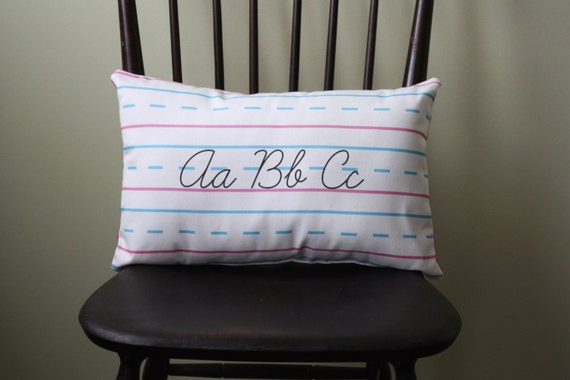 Penmanship Pillow - ABCs, Script // Cursive // Teacher Gift // Handwriting Paper // Christmas // End of Year // School Decor // Kids Room