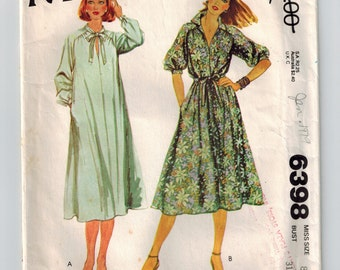 Vintage 70's Sewing Pattern Misses Pullove  Retro Dress Size 8 Bust 31 1/2 Raglan Sleeves Loose Fitting Tie Belt Tent Dress Notched Collar