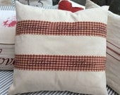 Cottage Pillow French Red Plaid Shabby Chic Cream Denim Fabric