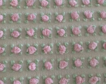Vintage Chenille Down Pillow/Vintage Bedspread Fabric/French Pink/Cottage White/ Flower/Shabby Chic/Lumbar Pillow/Nursery