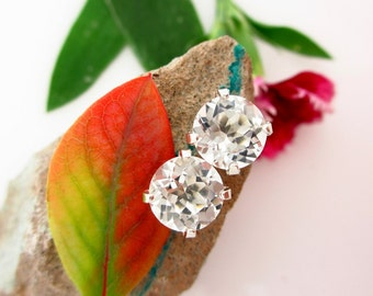 White Topaz Earrings in Gold, Silver, Platinum, or Palladium with Genuine Gems, 8mm - Free Gift Wrapping