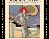 Vintage Sewing Book May 1927 Fashion Service Magazine Dressmaking Ebook Featuring Hats, Dresses and Lingerie -INSTANT DOWNLOAD-