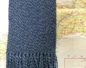 denim tweed: handwoven wool scarf
