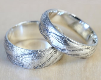 Bristlecone Tree Bark Wedding Band Set in Recycled Silver, Wedding Ring Set, 8mm Wedding Band and 6mm Wedding Band, His and His Wedding Ring