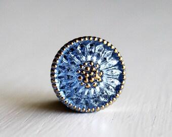 Sapphire/Gold 18mm Czech Glass Button
