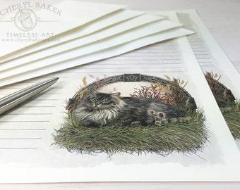 Cat Stationery Paper - Stationery Paper Set - Stationery Set - Writing Paper - Lined Paper - Stationary Paper - Woodland Paper - Linen