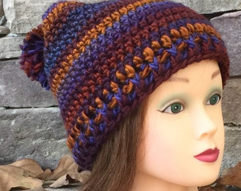 Crochet Pattern Where's Wallace Self Striping Slouchy Hat Instant Download PDF Crochet Hat Pattern