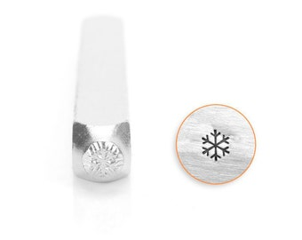 Snow Flake Design Stamp, SC1520-A-6MM, Winter Design Stamps, Metal Stamp, 6mm, Carbon Steel Design Stamp, ImpressArt