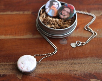 Meluseena Locket Set | 3-in-1 modern necklace | magnetic jewelry Moon locket modern locket, Frida, animal warrior necklace for little girl
