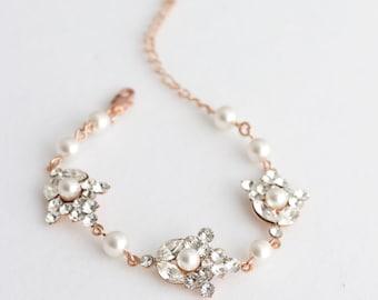Rose Gold Bracelet Crystal Wedding Jewelry Crystal Pearl Bridal Bracelet SEPTEMBER