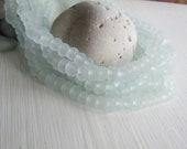 Small Recycled glass rondelle beads,  matte frosted, irregular uneven, indonesia 5 to 6mm x 7 to 8mm (20 beads) 6ak7-4