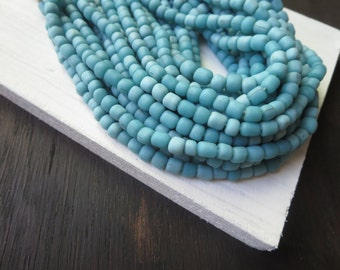 blue seed  beads, blue glass beads, Opaque matte turquoise, spacer tube barrel, New  Indo-pacific 3 to 6  mm  - 22 inches strand  /  6a14-31