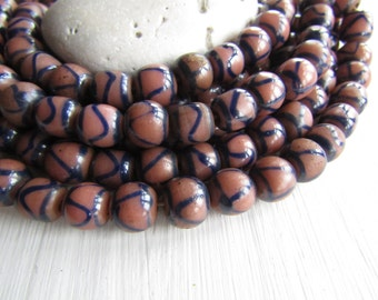 ethnic round lampwork glass beads, rose brown and dark blue , opaque glossy  with motif,  Indonesian beads 8 to 11mm (10 beads)  6bb3-7
