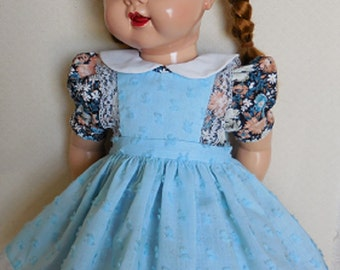 For 22 Inch Saucy Walker - Sweet Dress and Pinafore of Vintage Fabrics