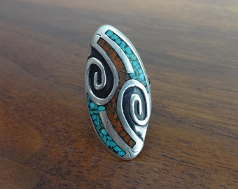 Vintage Silver Ring with Turquoise and Coral