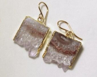 Raw Amethyst Geode Slice Earrings Amethyst Crystal Earrings February Birthstone One of a Kind Geode Earrings AM-E-101A-005g