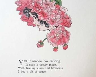 Vintage 1914 The Flower Babies Illustration Print w Verse, Penny Ross Illustration, Geranium Flower Baby, Original Print, Nursery Decor